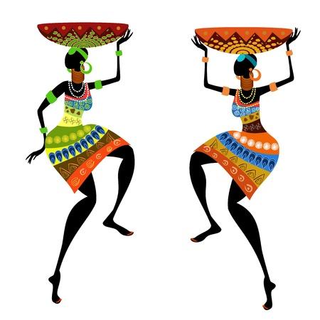 danza africana: Donna di etnia con vaso