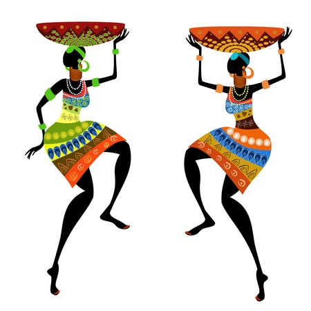 ilustraciones africanas: Mujer �tnica con jarr�n Vectores