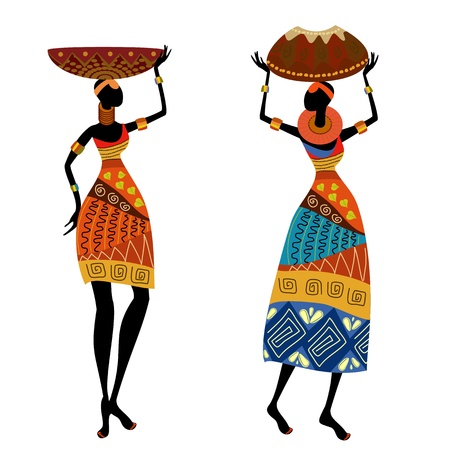 Mujer étnica con jarrón Vectores