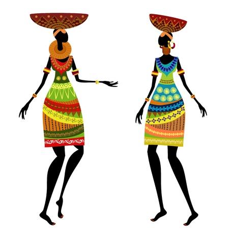ilustraciones africanas: Mujer étnica con vasev