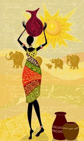 pinturas abstractas: el paisaje con una mujer africana decorativa
