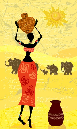 landscape with an African woman decorative Vector