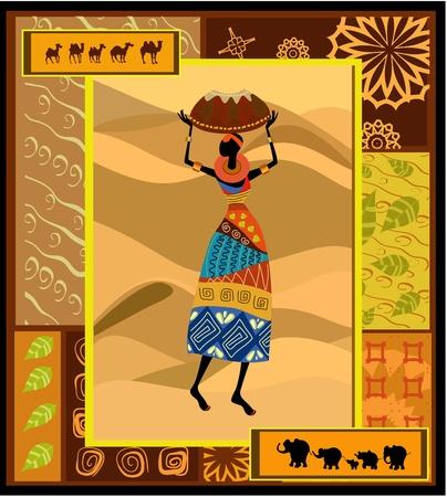 ilustraciones africanas: mujer bonita c patr�n �tnico Vectores