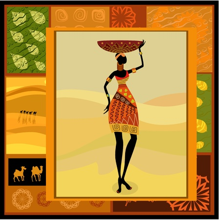 ilustraciones africanas: Chica africana vestida en un decorativo