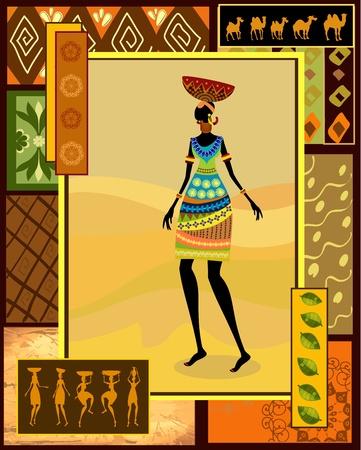 femme africaine: Jeune fille africaine v�tue d'une d�coration