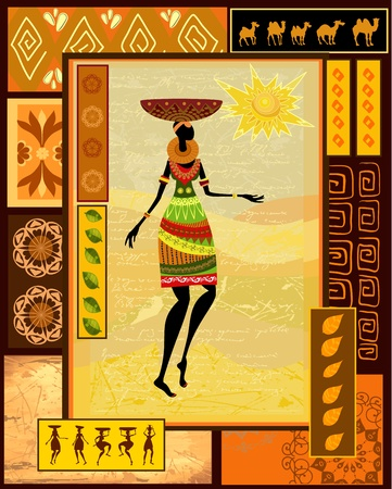 African girl dressed in a decorative Vector