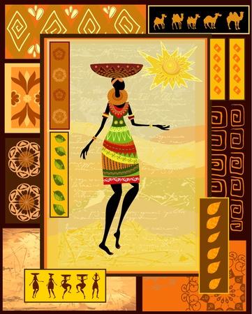 arte africano: Chica africana vestida en un decorativo