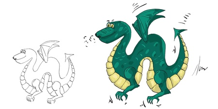 drawing a green dragon with wings Vector
