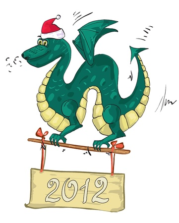 dragon santa hat Vector
