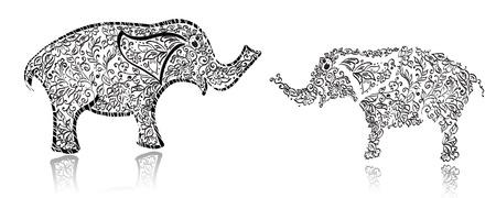 siluetas de elefantes: Elefante elegante diseño