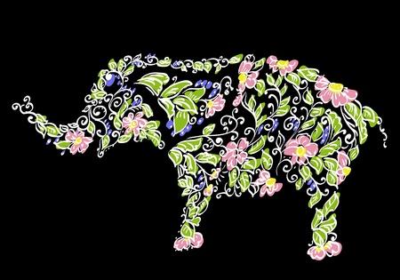 siluetas de elefantes: Elefante diseñador floral