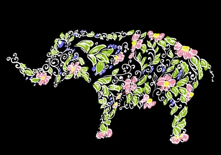 Floral designer elephant Vector