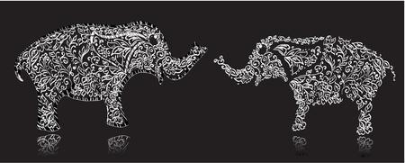 beauty and the beast: Stylish design elephant Illustration
