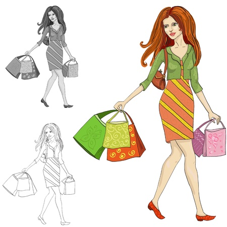walking on hands: drawing of a woman with shopping Illustration