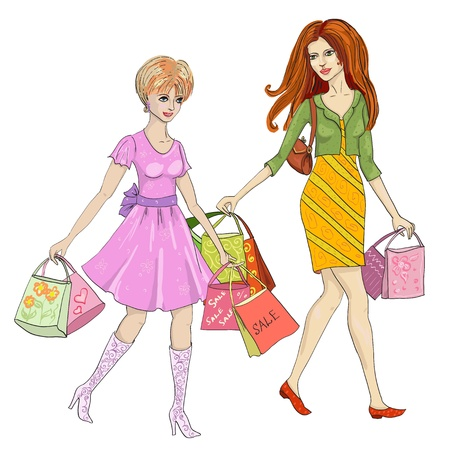 walk of life: drawing of a woman with shopping Illustration