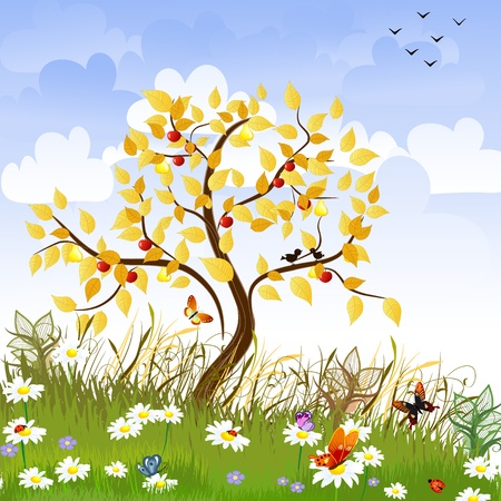 birds scenery: apple in the autumn landscape Illustration