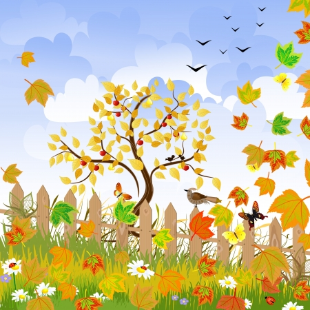 birds scenery: autumn landscape with a fence Illustration