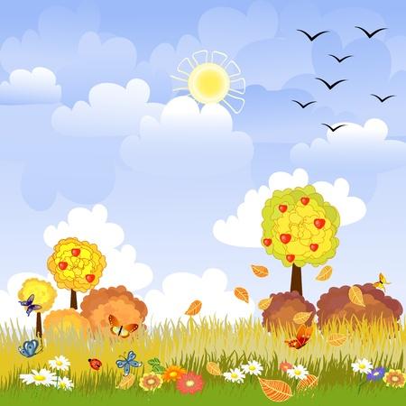 sunny autumn landscape Vector