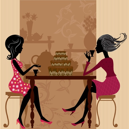 young lady: tea in the cafe with cake