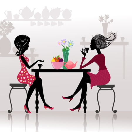 vintage cafe: silhouette of beautiful girls in cafes Illustration