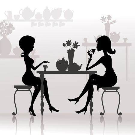 silhouette of beautiful girls in cafes Vector