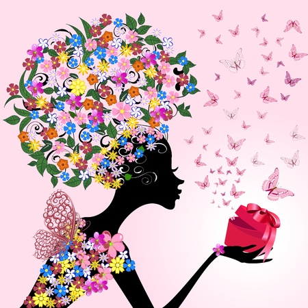 girl with a romantic gift Stock Vector - 10454382
