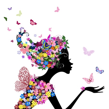 retro hair: girl with flowers and butterflies Illustration
