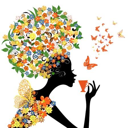 뜨거운 컵 꽃 소녀