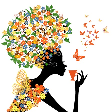 girl in flowers with a hot cup Vector
