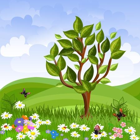 arboles de caricatura: paisaje de verano con un �rbol joven