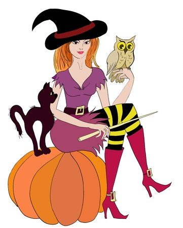 Witch with an owl and a cat Vector