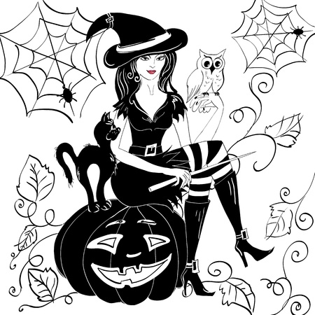 witch with an owl on her arm on the eve of halloween Vector