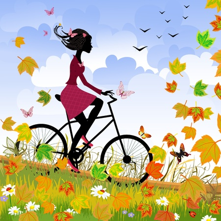 young girls nature: Girl on bike outdoors in autumn Illustration