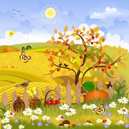 농촌 풍경 가을 나무 일러스트