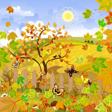 Rural landscape autumn Vector