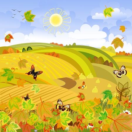 Autumn Landscape rural expanses Vector