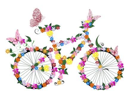 vélo avec les fleurs Vecteurs