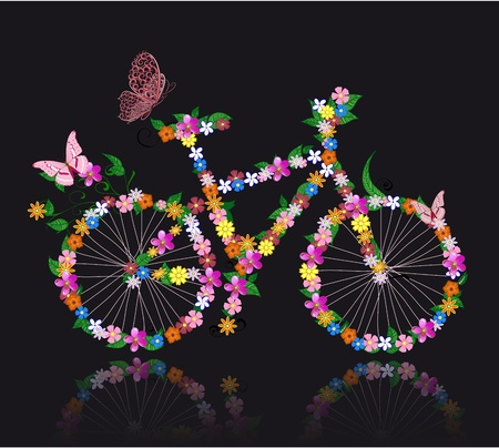 bike with flowers Vector