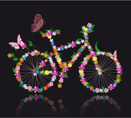 bicicleta retro: moto con flores Vectores