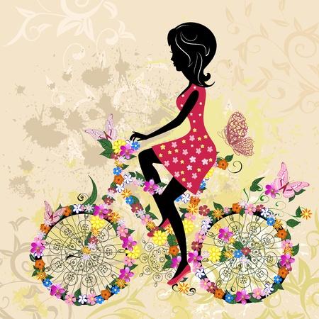 outdoor fitness: Girl on bike grunge Illustration
