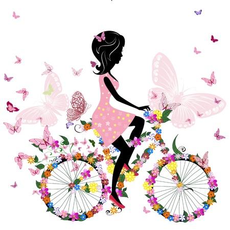 bicicleta retro: Chica en una bicicleta con un romántico mariposas Vectores