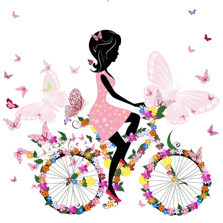 butterfly silhouette: Girl on a bicycle with a romantic butterflies Illustration