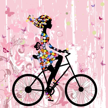 Girl on bike grunge romantic Vector