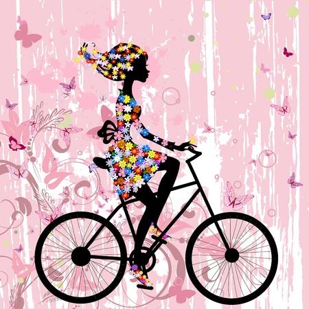 Girl on bike grunge romantic Vector