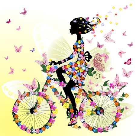 bicicleta retro: Chica en una bicicleta en un romántico Vectores