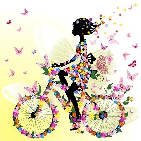 fiets: Meisje op een fiets in een romantische Stock Illustratie