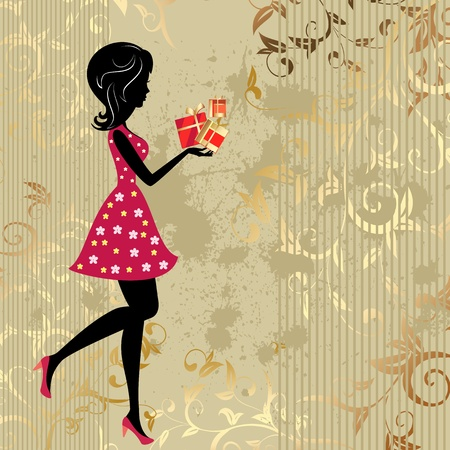 vintage wallpaper: The girl with presents on a gold background citizens