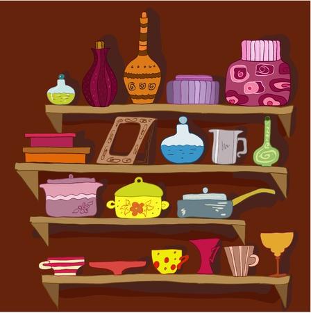 cocina caricatura: dibujo utensilios en las estanterías