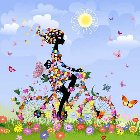 Girl on bike outdoors in summer Stock Vector - 10531916