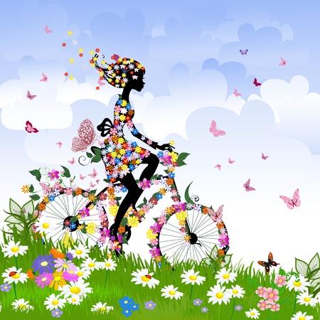 bicicleta retro: Chica en bicicleta al aire libre en verano